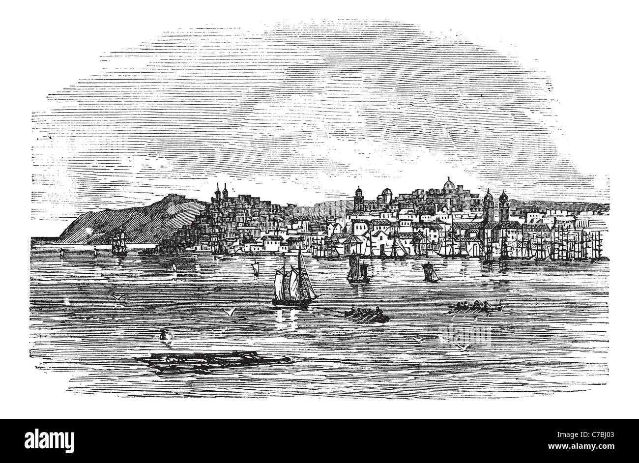 Galati In Romania During The 1890s Vintage Engraving Old Engraved Illustration Of