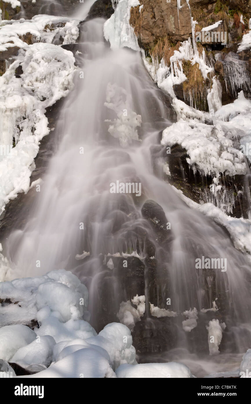 Waterfall in winter, Todtnauberg Black Forest, Germany - Stock Image