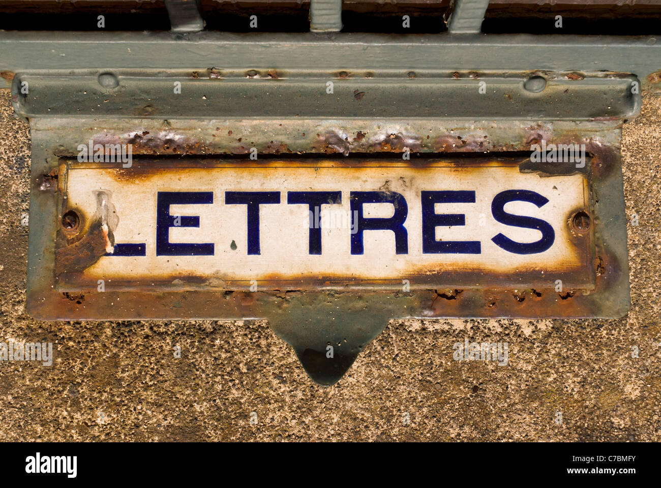Old French letter box - Stock Image