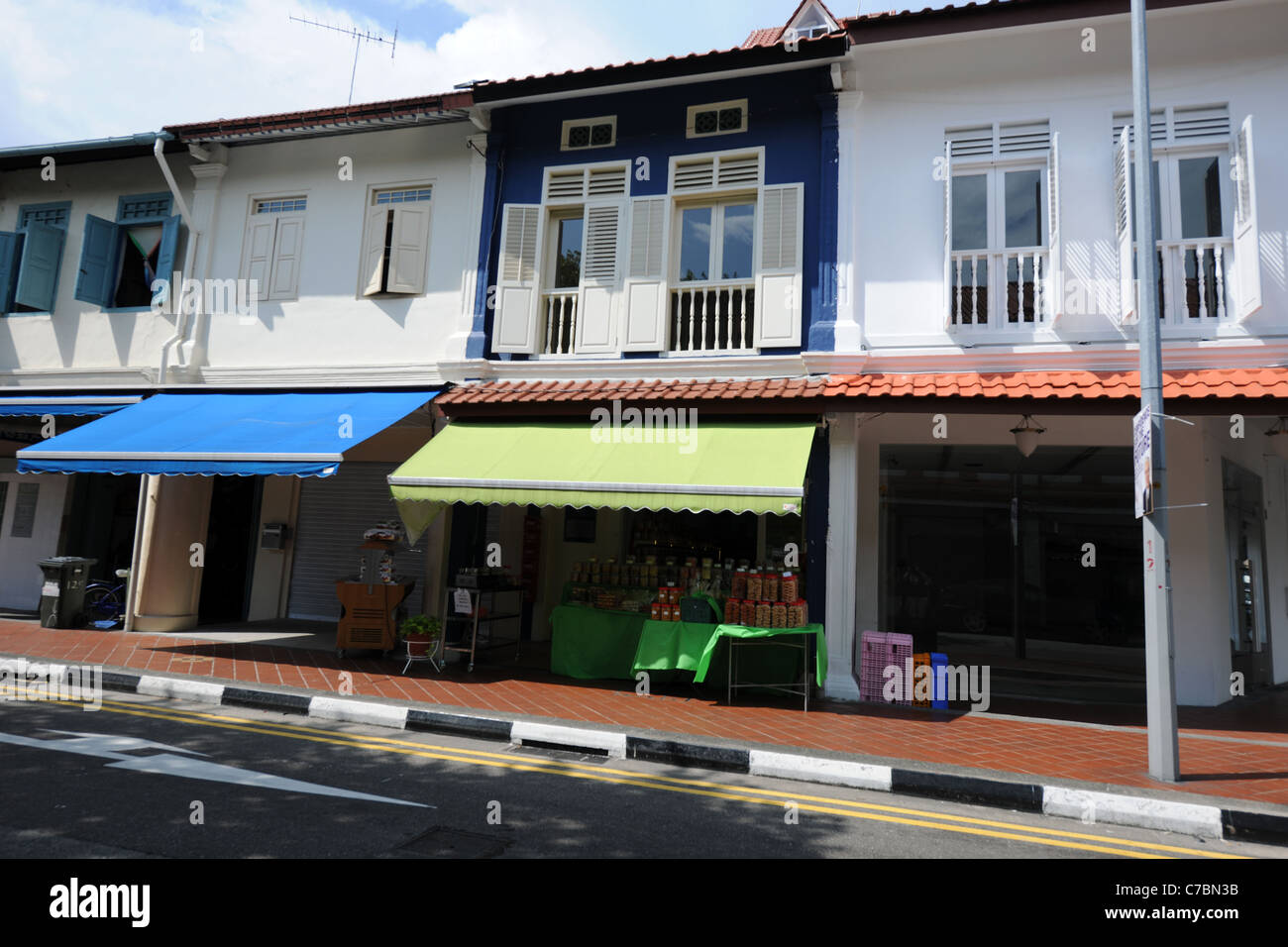 traditional shophouses in theconservation area Joo Chiat, Singapore - Stock Image