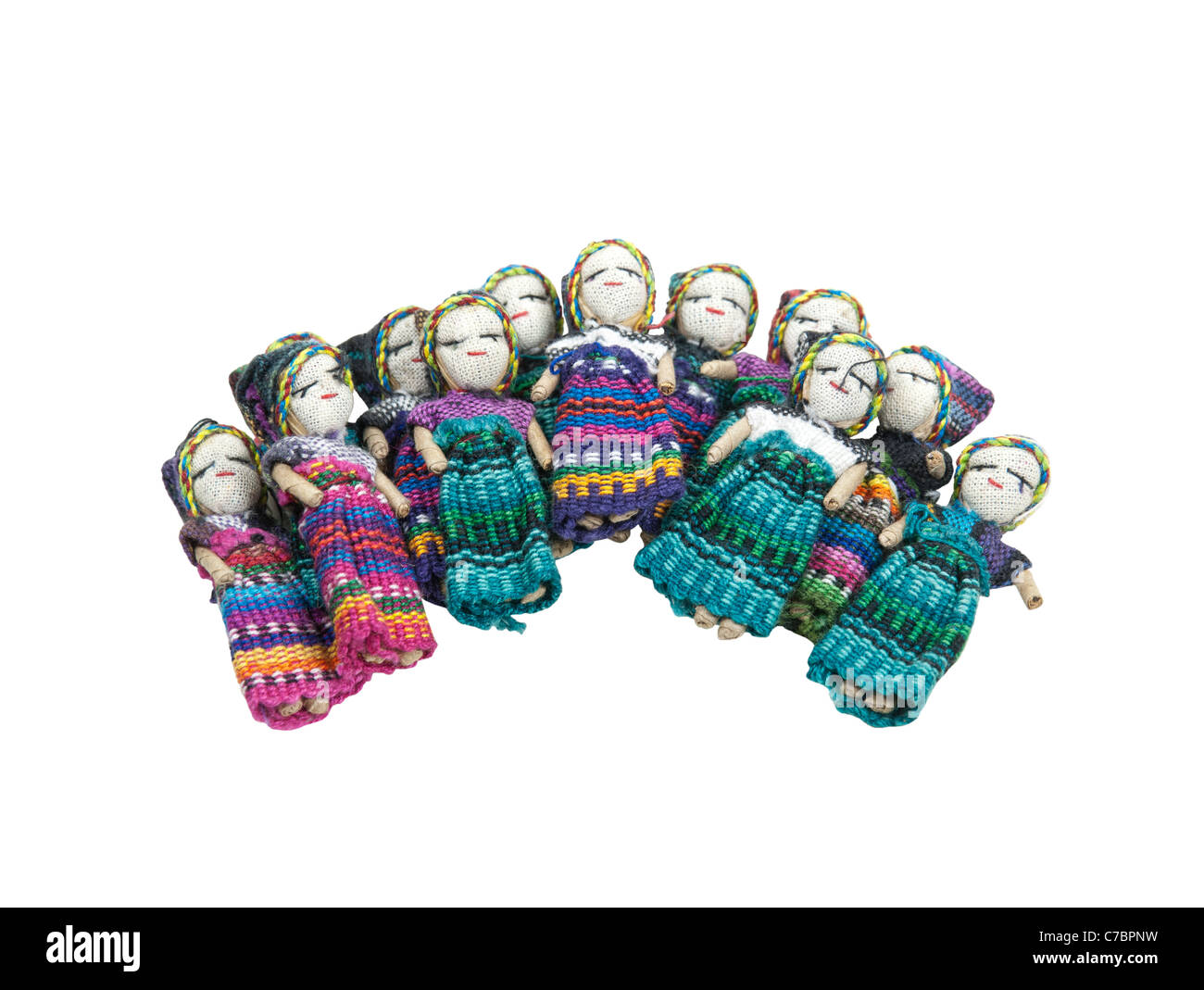 Worry dolls used to confess worries to at night for peaceful sleep - Stock Image