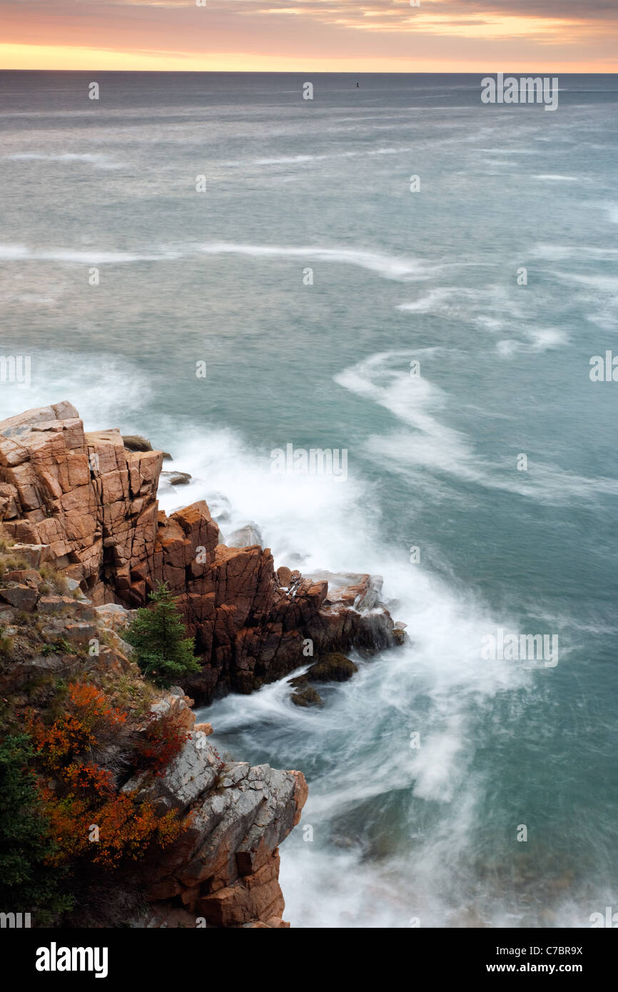 Rocky shoreline near Monument Cove, Acadia National Park, near Bar Harbor, Maine, USA - Stock Image