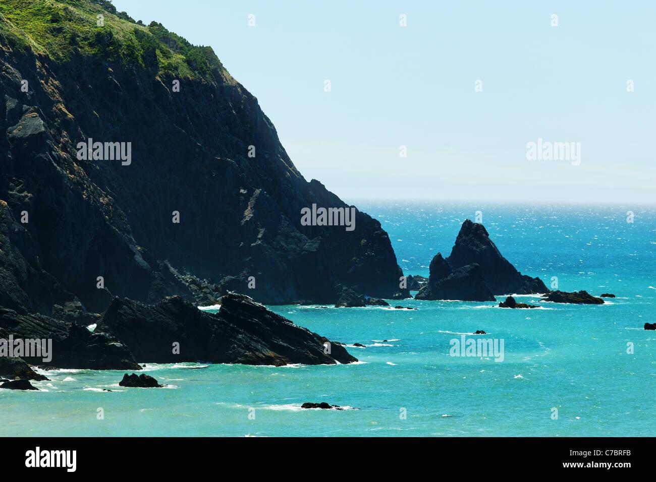 Sea cliffs along the rugged Oregon Coast, Oregon, USA, North America - Stock Image
