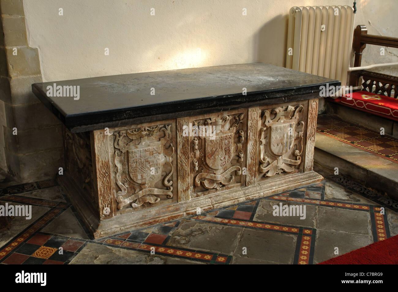 John Pulteney tomb, St. Leonard`s Church, Misterton, Leicestershire, England, UK Stock Photo
