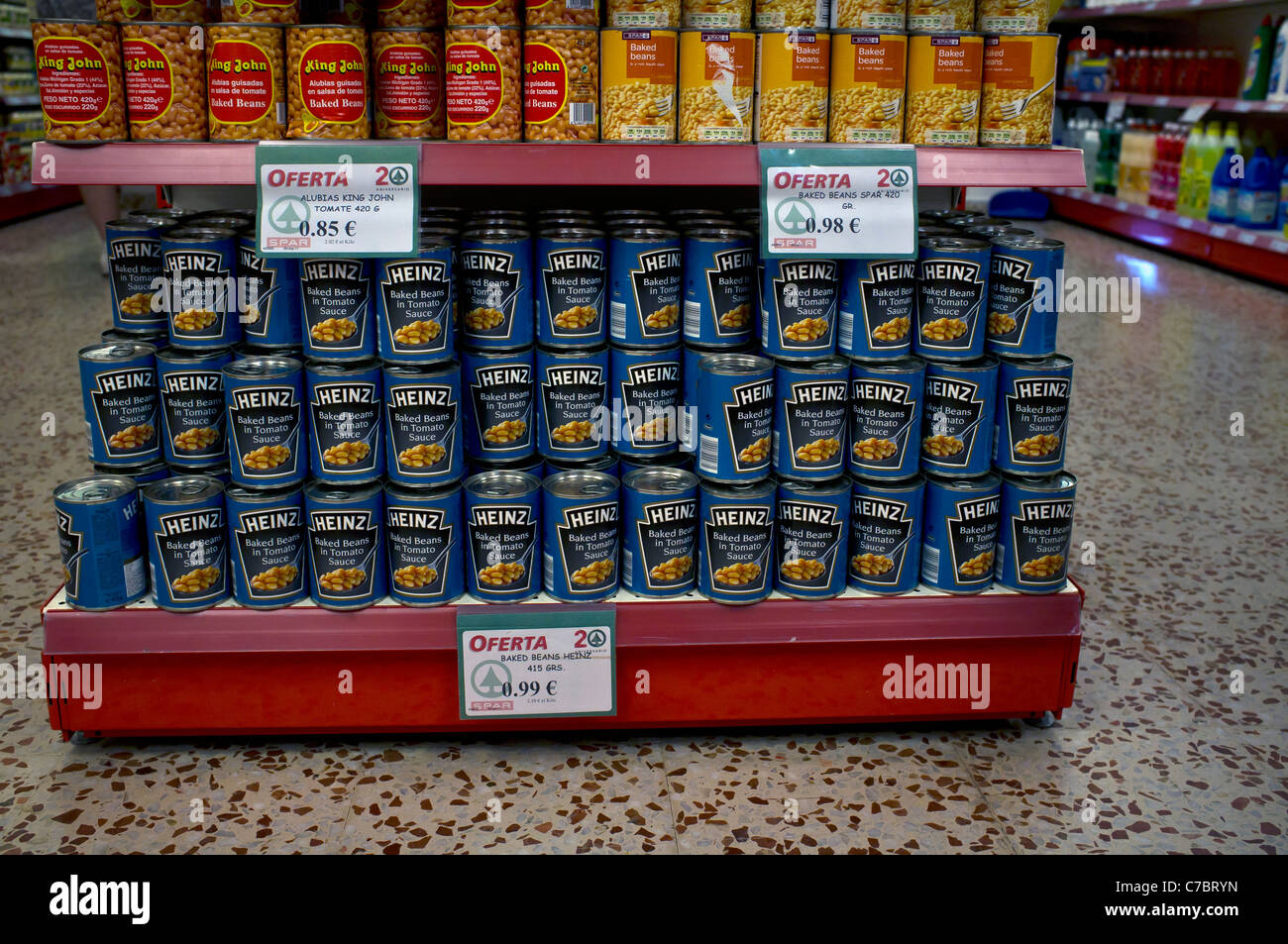 Heinz Baked Beans on sale in Spa supermarket, Menorca, Spain - Stock Image