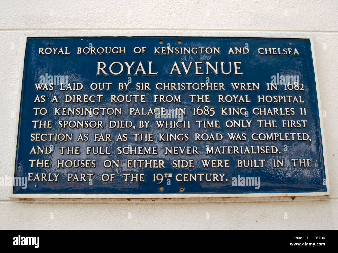 information plaque describing the history of  royal avenue, a street in chelsea, london, england Stock Photo
