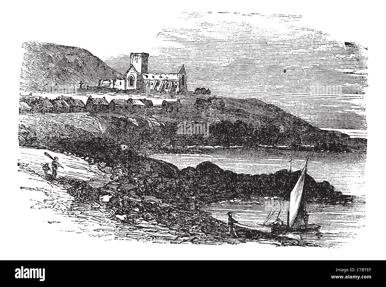 The ruins of St Mary's Abbey in Iona, Scotland, during the 1890s, vintage engraving. Stock Photo