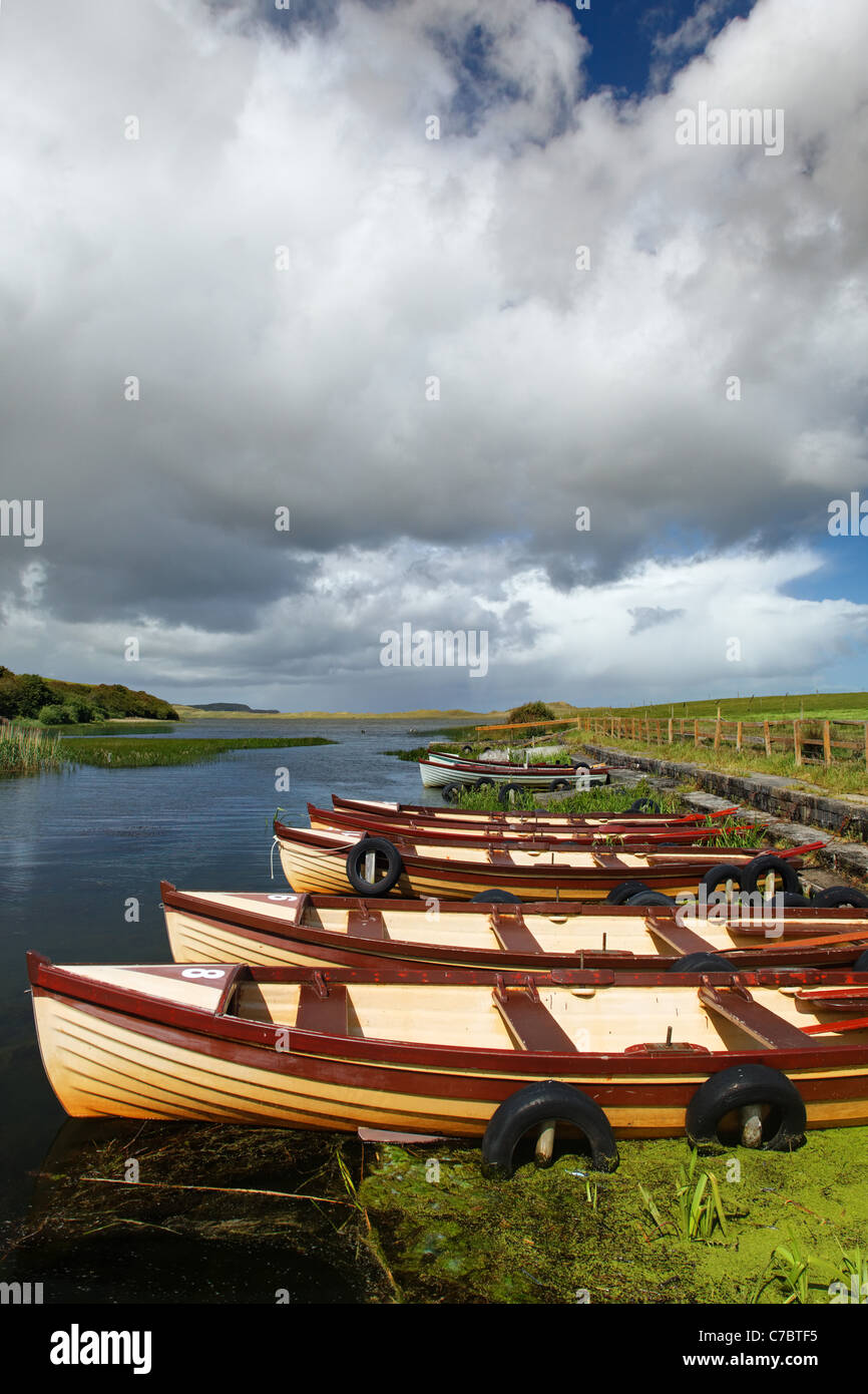 Fishing boats on New Lake, Dunfanaghy, County Donegal, Republic of Ireland - Stock Image