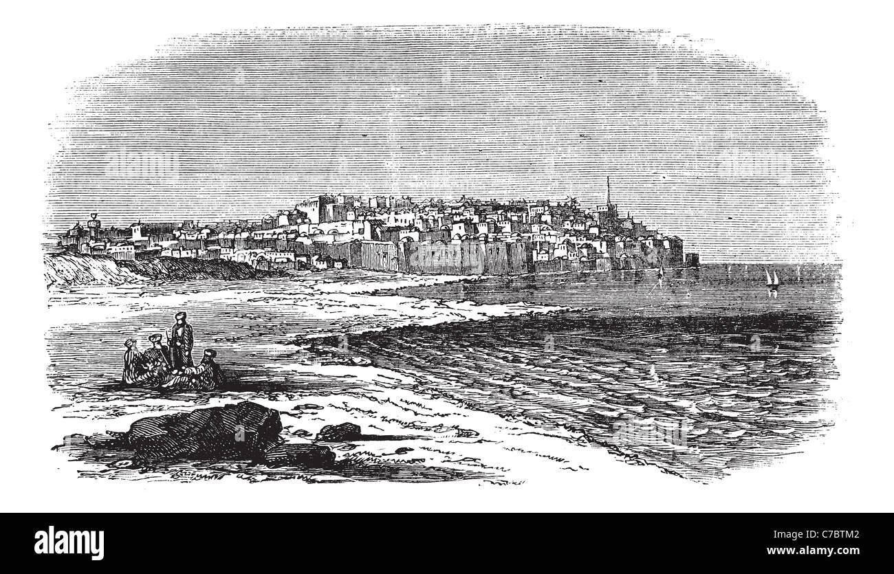 Jaffa in Israel, during the 1890s, vintage engraving. Old engraved illustration of Jaffa port. - Stock Image