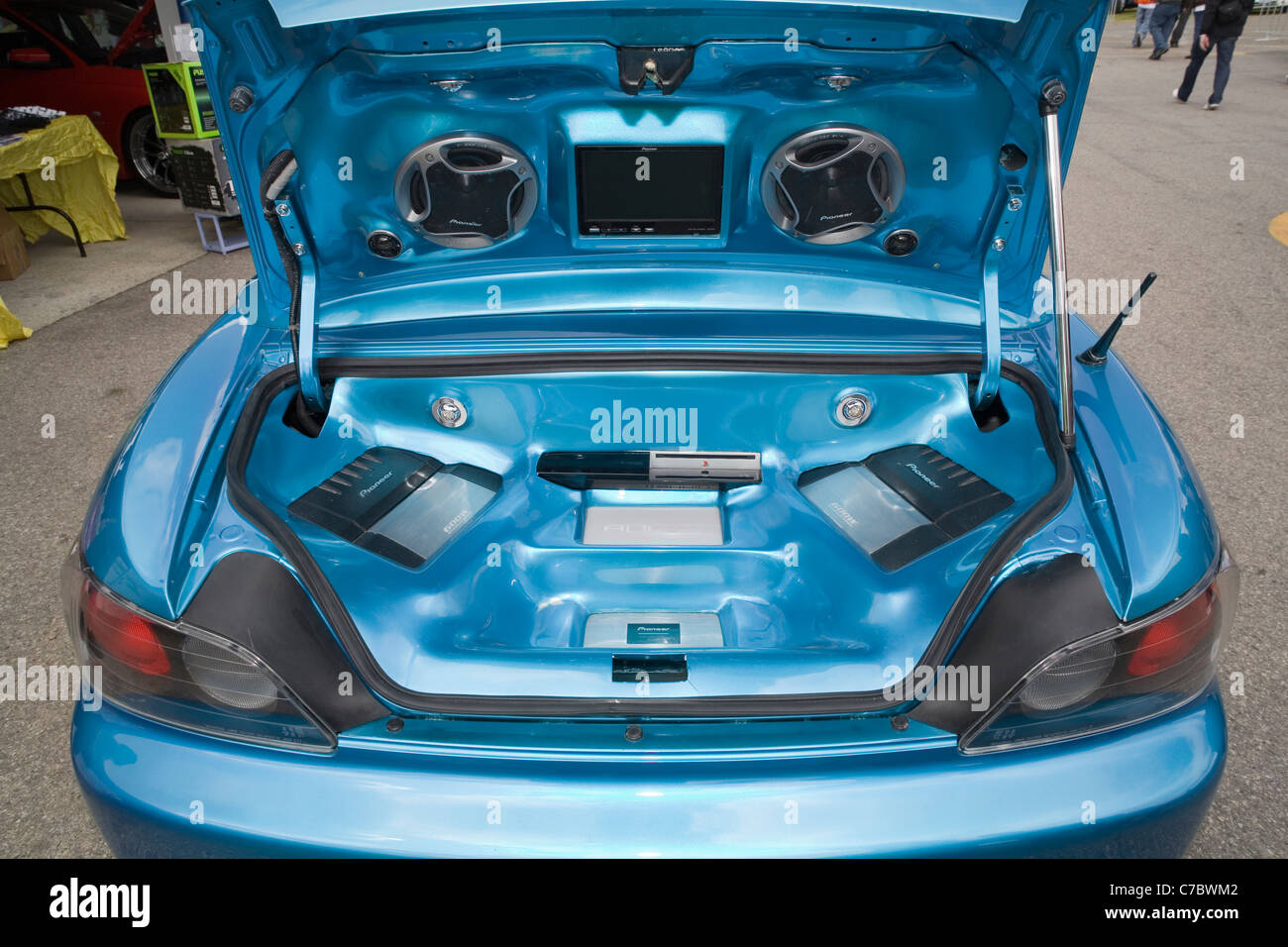 Car Stereo Amplifiers And Sound System In The Boot Of A Modified Boy Stock Photo Alamy