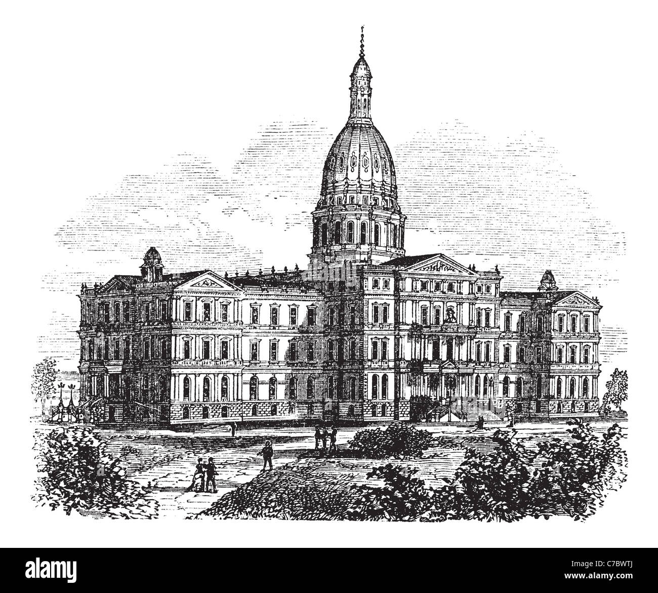 Black white drawing capitol building stock photos black white michigan state capitol building us vintage engraving old engraved illustration of state capitol of malvernweather Images