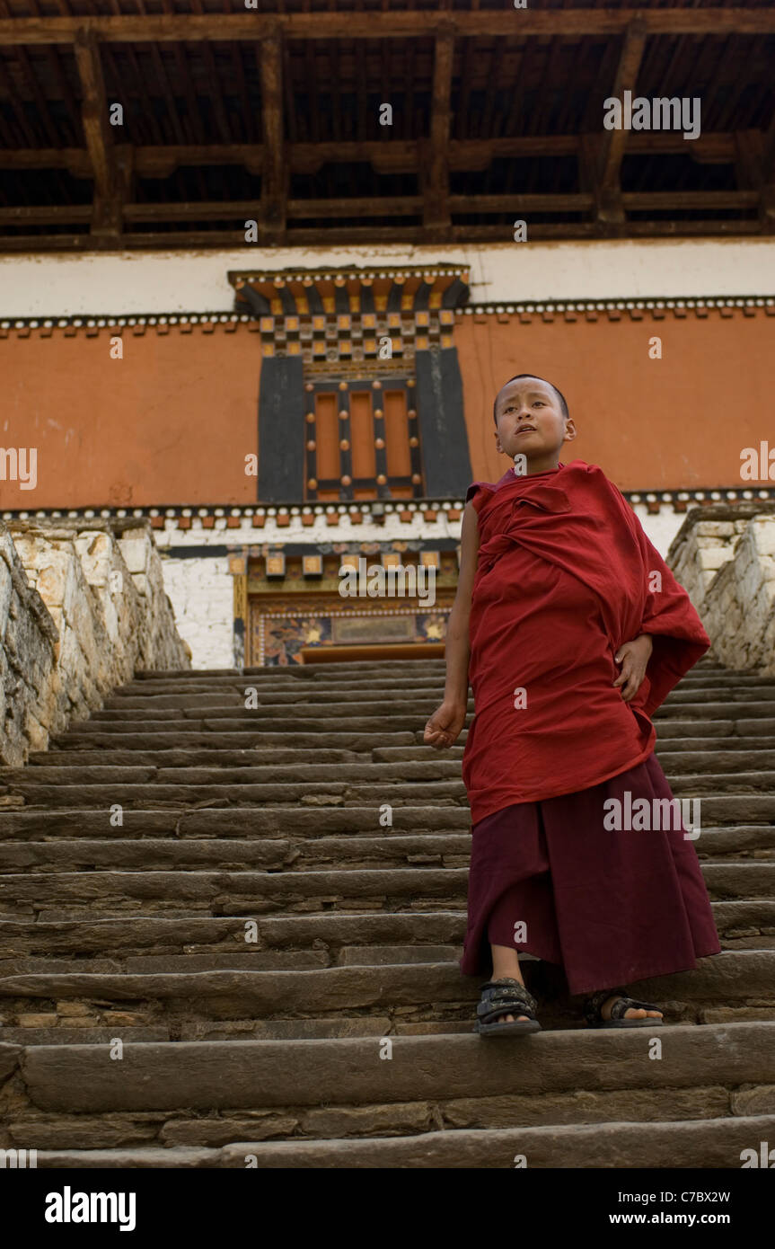 The Rinpung Dzong in Paro, Bhutan, is home and school to several hundred apprentice monks as well as adult ones. - Stock Image