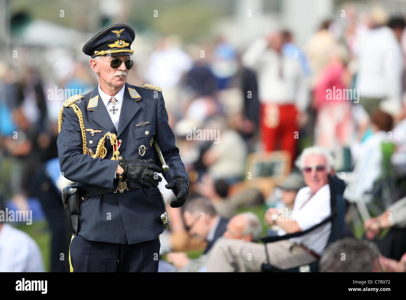 Man dressed in German military uniform at the Goodwood Revival Meeting 2011. Picture by James Boardman. - Stock Image