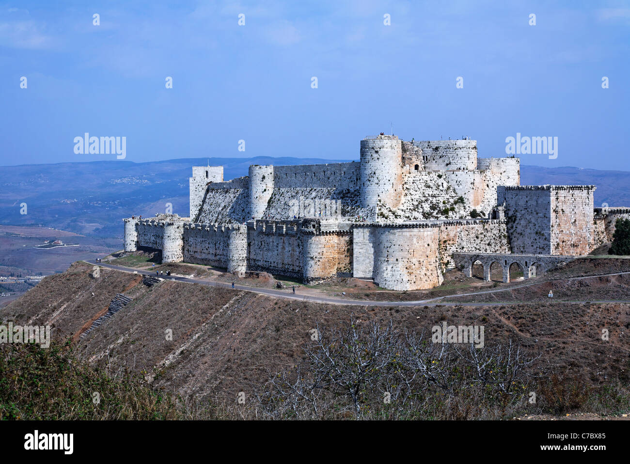 The crusader castle Krak Des Chevaliers, Syria - Stock Image