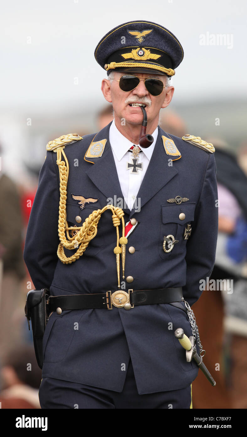 Man dressed in a German military uniform at the Goodwood Revival Meeting 2011. Picture by James Boardman - Stock Image