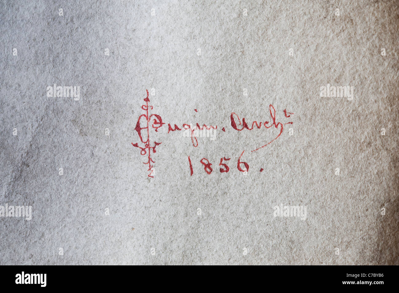 The elaborate signature of the architect E.W. Pugin (son of Augustus Pugin) on one of his architectural drawings - Stock Image