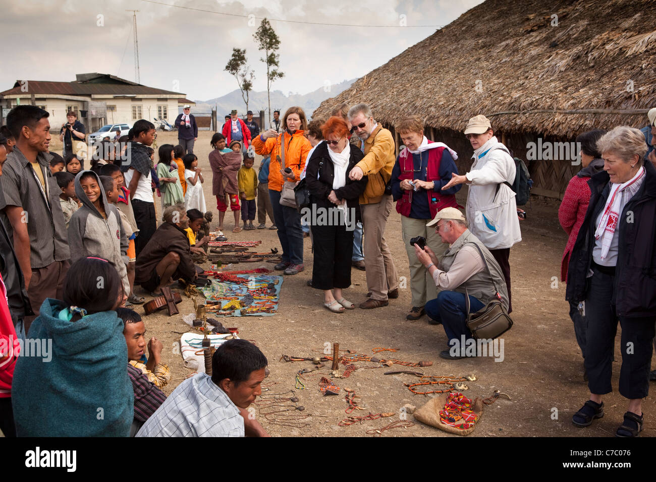 India Nagaland Longwa Konyak Naga Villagers Displaying Local
