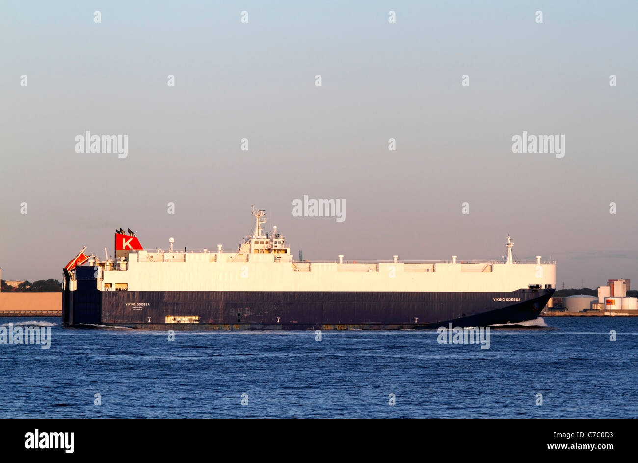 The Singaporean vehicles carrier Viking Odessa passing the Sound between Elsinore, Denmark  and Helsingborg, Sweden - Stock Image