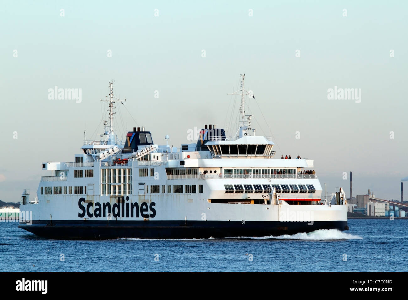 The Scandlines car ferry TYCHO BRAHE  arriving to the harbour of Elsinore, Denmark, from Helsingborg, Sweden - Stock Image