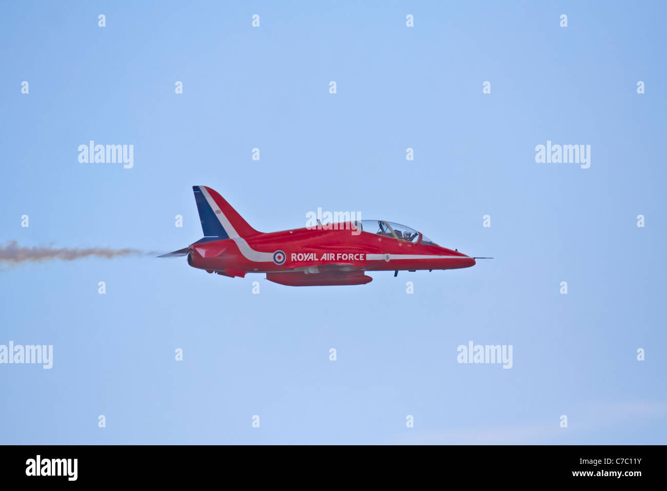 The Royal Air Force aerobatic team the Red Arrows display at Swansea sea show Event - Stock Image