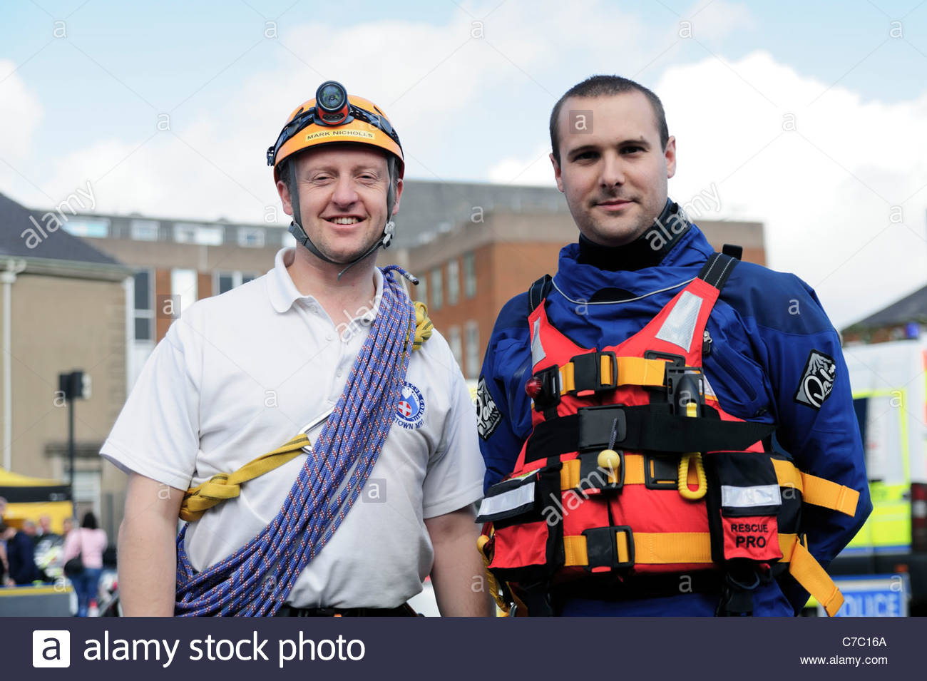 Mountain Rescue Team volunteers at open day, Hereford Police station, England, UK. - Stock Image
