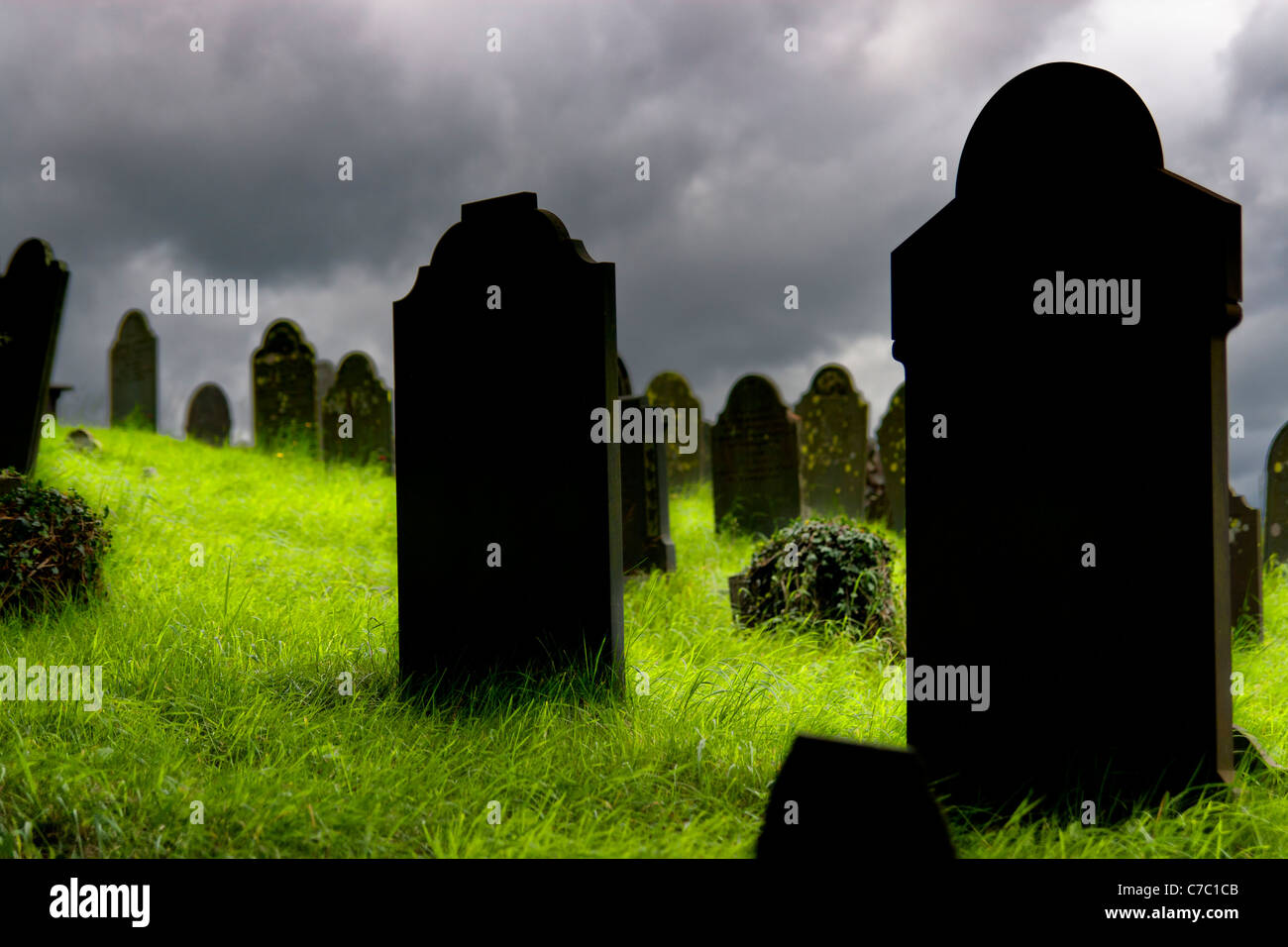 Old gravestones in a Cemetery - Stock Image