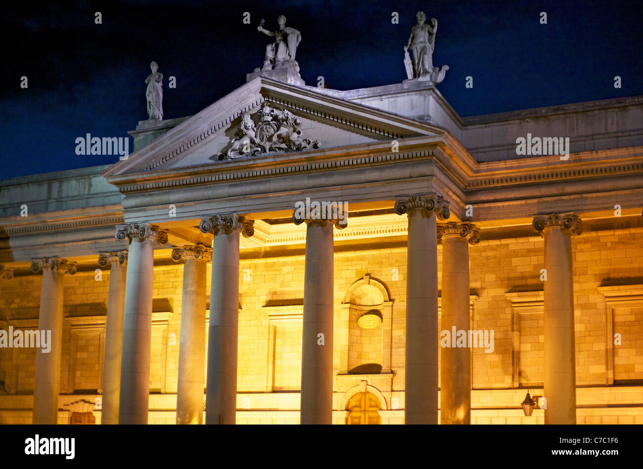 Bank of Ireland in centre of Dublin at night - Stock Image
