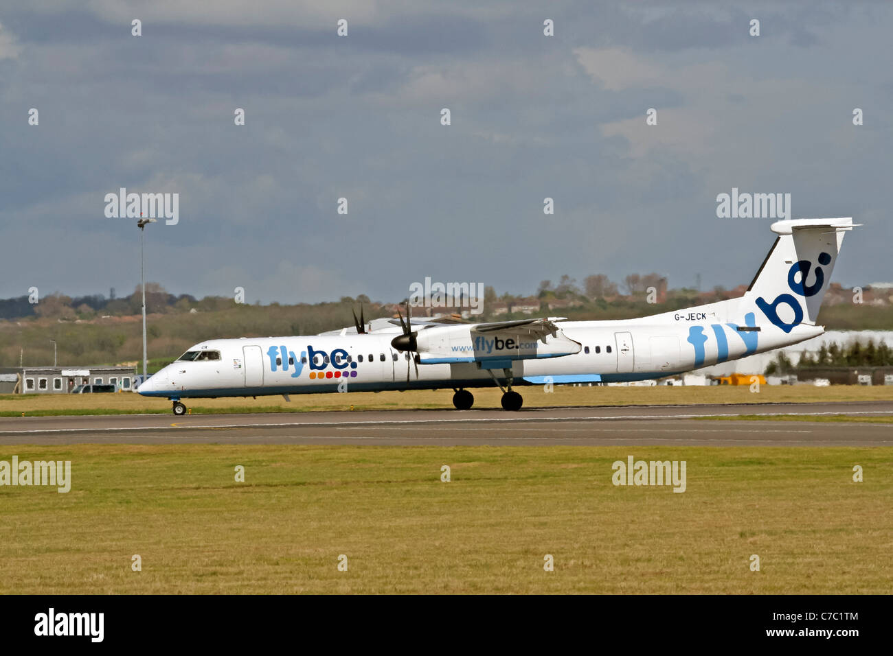 De Havilland Canada DHC-8Q-400 Dash 8, G-JECK, Flybe taking off from Cardiff Airport - Stock Image