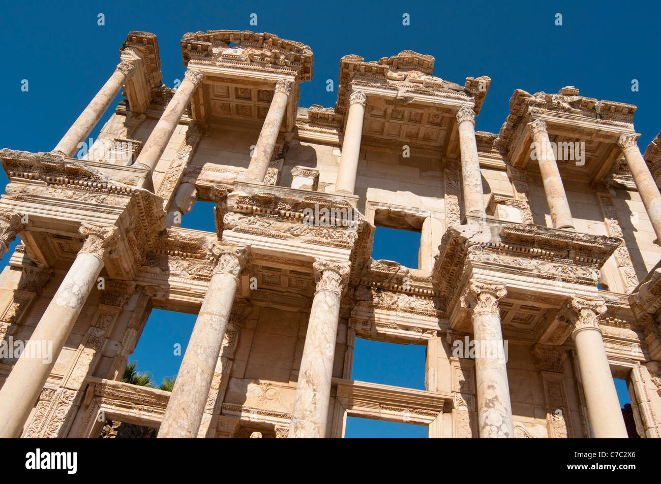 Ruins of the facade of library Celsus bibliotheque in the ancient town of Ephesus in Turkey - Stock Image
