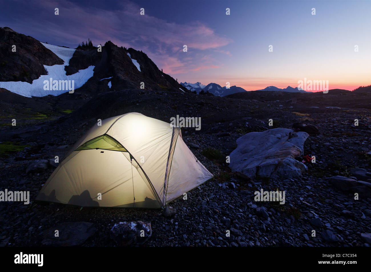 Backpacker's tent in upper Ferry Basin, Bailey Range Traverse, Olympic National Park, Washington - Stock Image