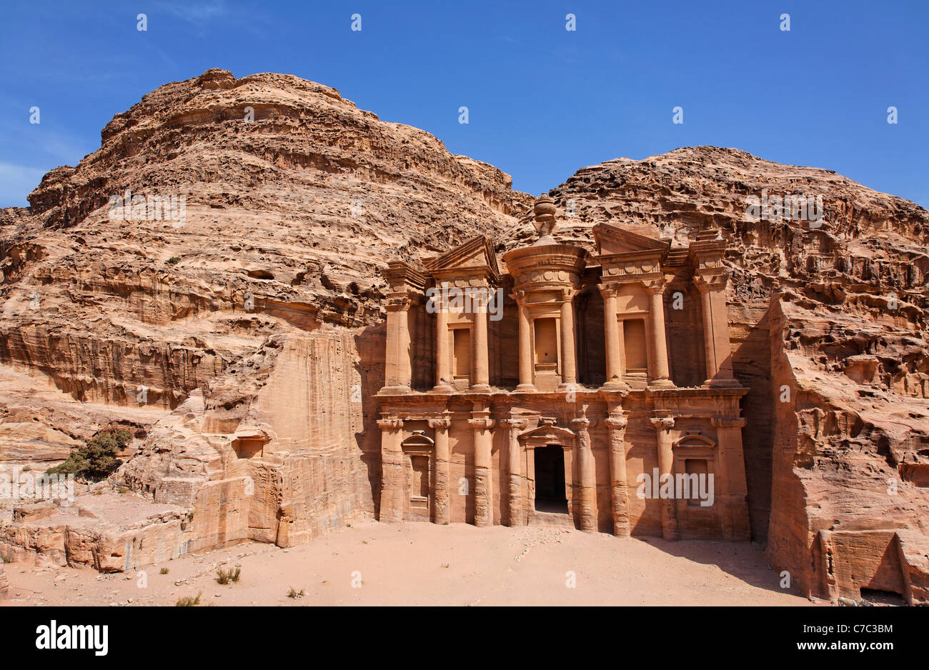 The Monastery, sculpted out of the rock, at Petra, Jordan - Stock Image