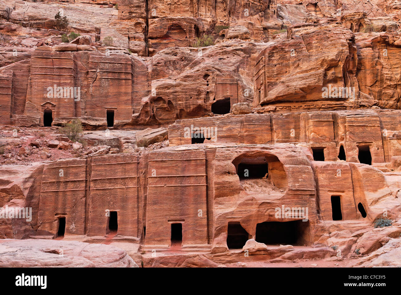 Rock cut tombs on the Street of Facades, Petra, Jordan - Stock Image