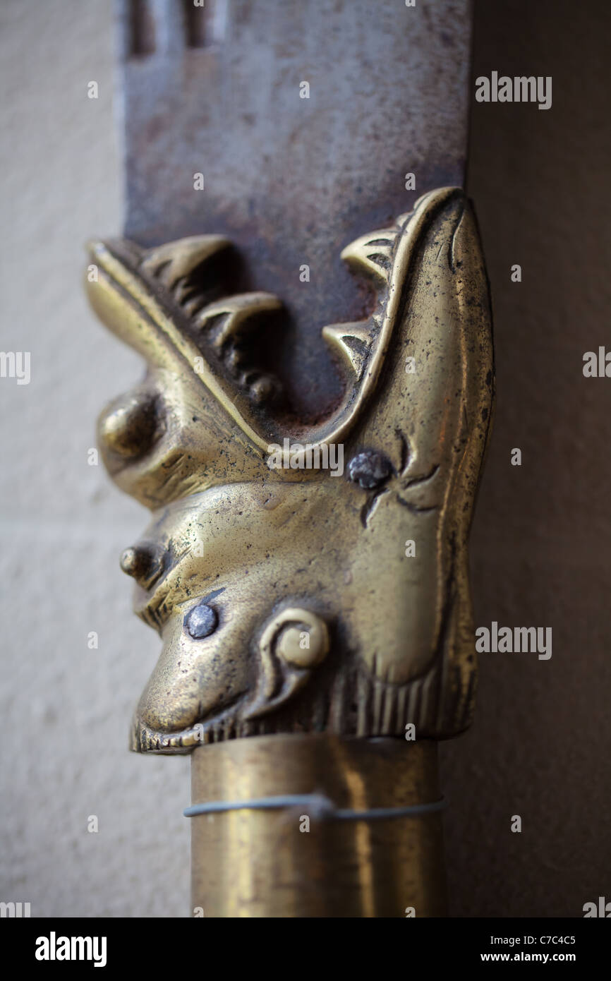 Detail on the join between hilt and blade of a Japanese samurai sword. - Stock Image