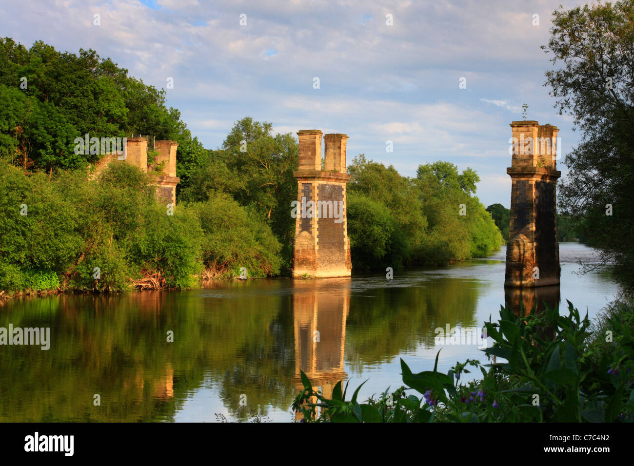 Partially dismantled railway bridge crossing the River Severn, Near Bewdley, Worcestershire, England - Stock Image