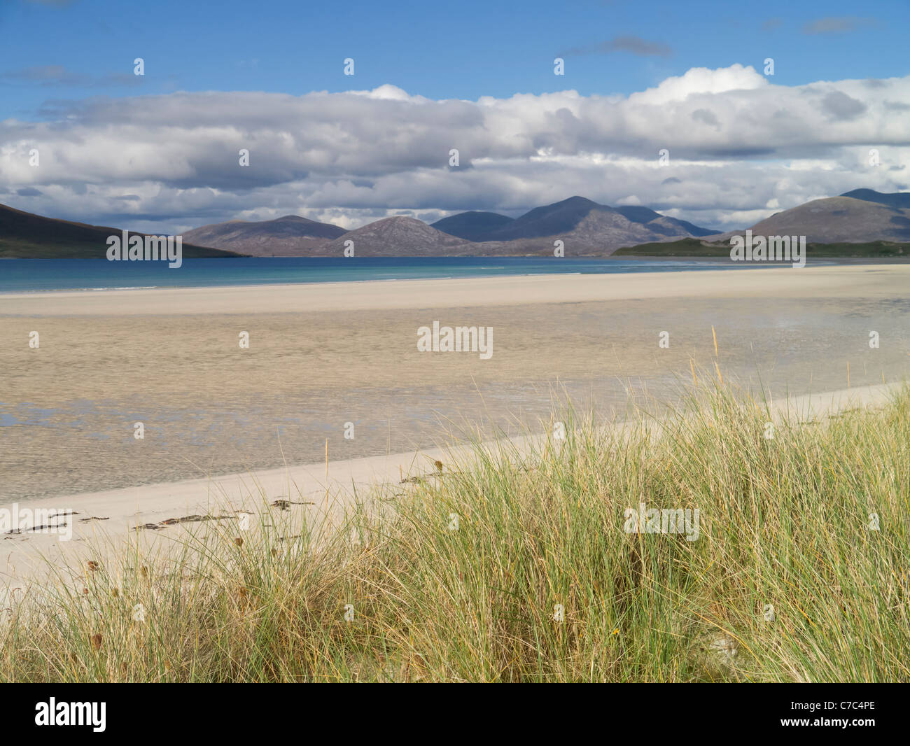 The North Harris hills seen from Seilebost beach on the Isle of Harris in Scotlands Outer Hebrides - Stock Image