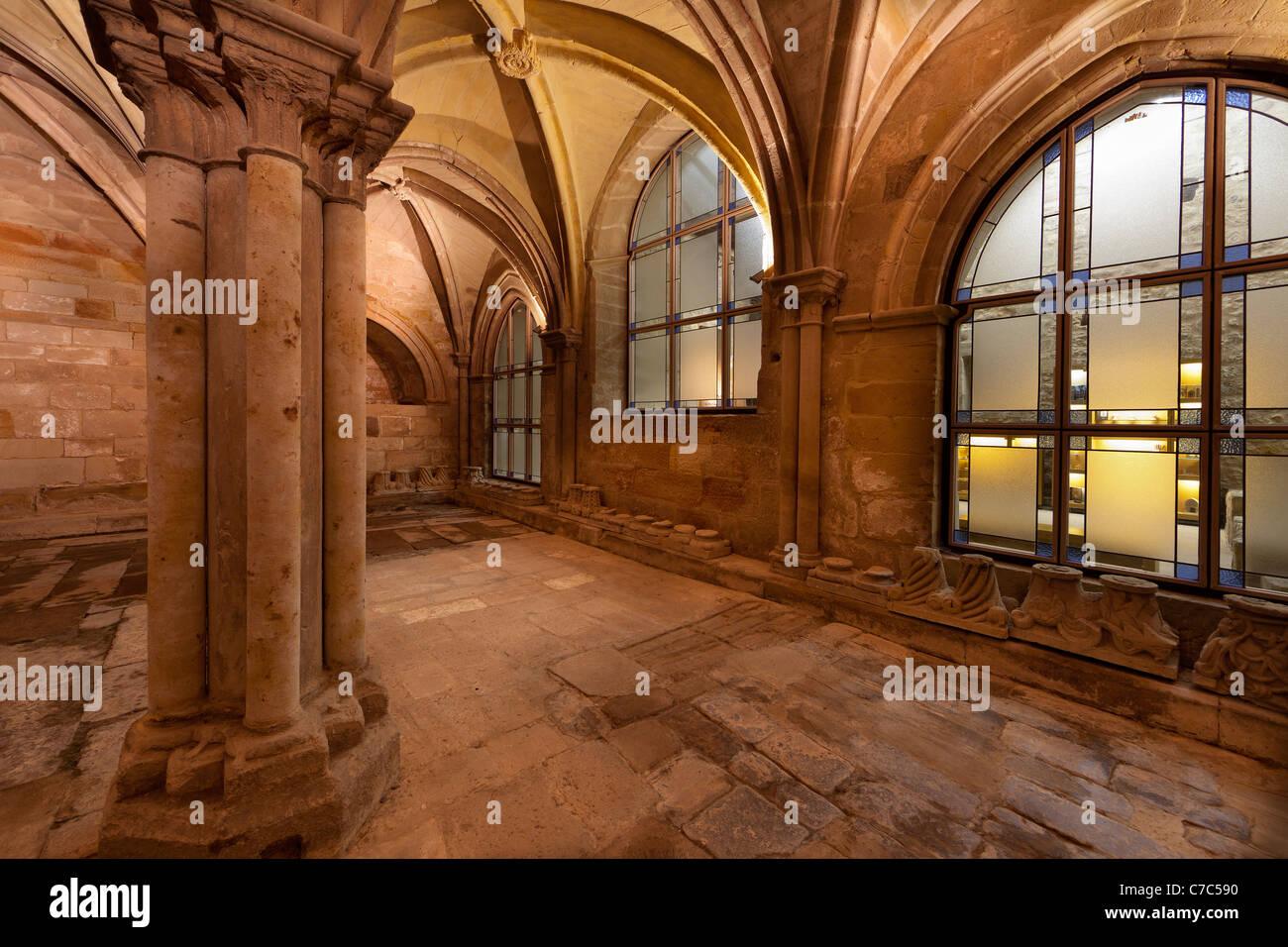View of refectorium in Santa Maria la Real monastery.Aguilar de Campoo,Palencia.Province of Castilla y Leon.Spain. - Stock Image