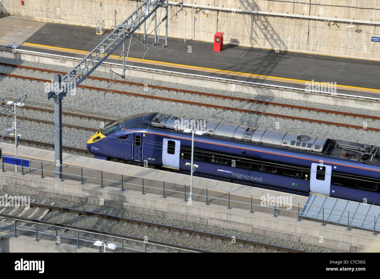 Part of the High Speed 1 Channel Tunnel Rail Link with Southeastern high speed Javelin train arriving Stratford - Stock Image