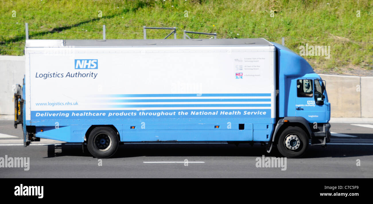 National Health Service Logistics Authority lorry part of supply chain keeps NHS healthcare services working driving - Stock Image