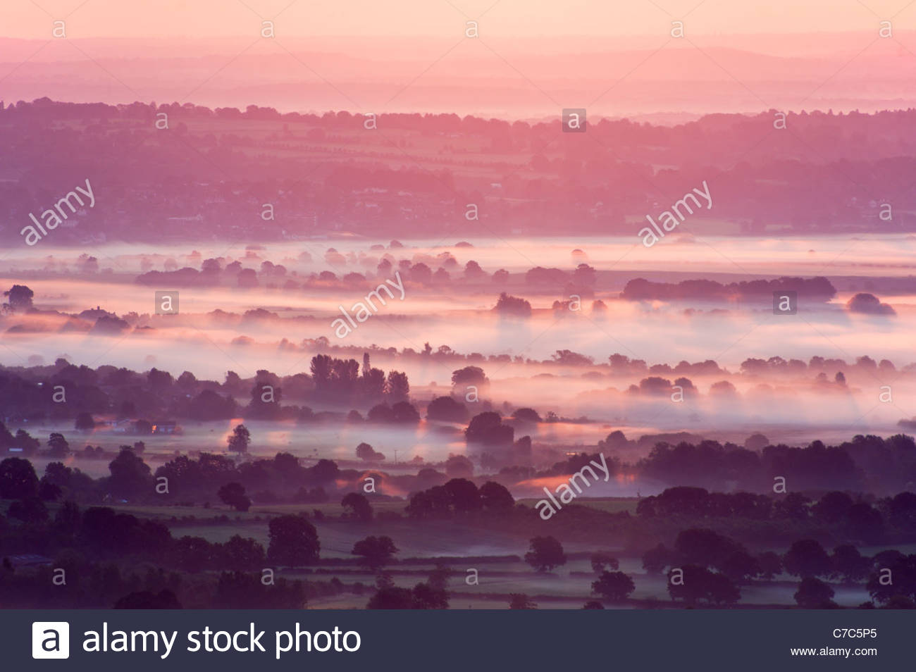 Morning mist in the South Downs National Park - Stock Image