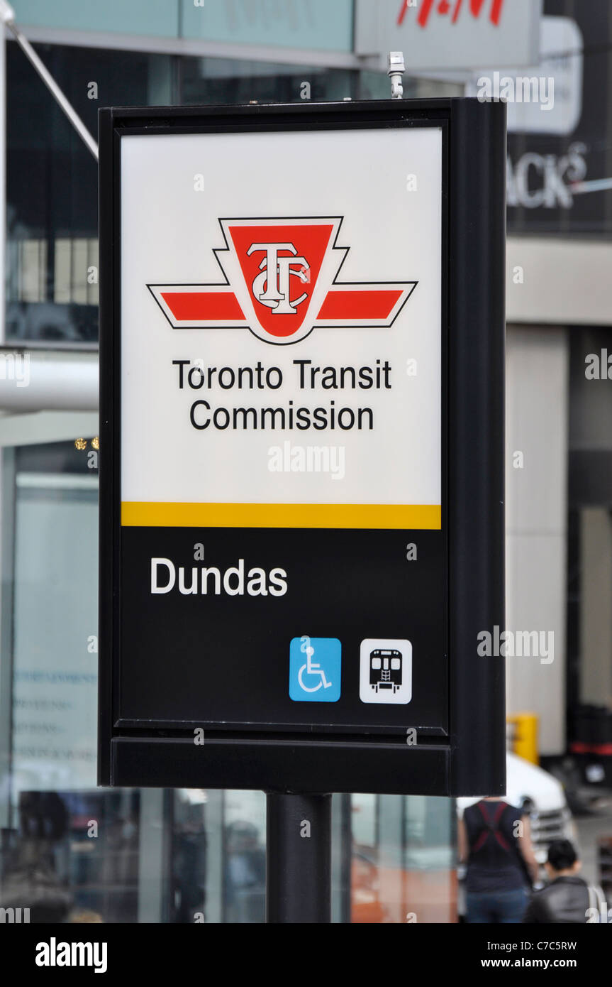 TTC Toronto Transit Commission Sign, at Dundas Subway Station - Stock Image