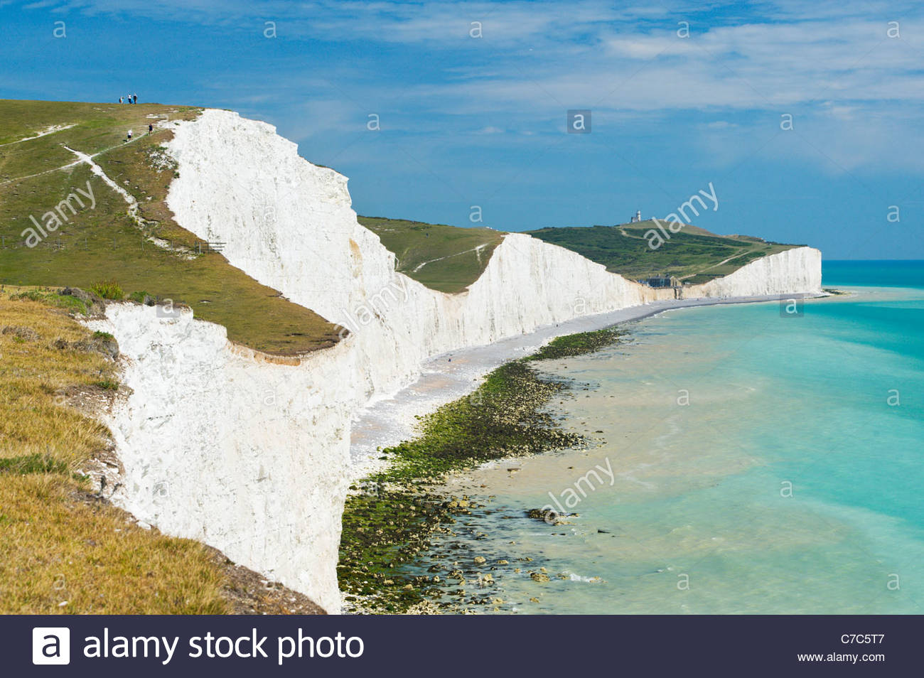 Belle Tout lighthouse and Birling Gap from the Seven Sisters cliffs, South Downs National Park Stock Photo