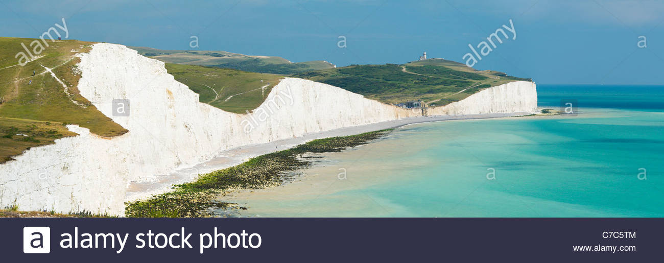 Belle Tout lighthouse and Birling Gap from the Seven Sisters cliffs, South Downs National Park - Stock Image