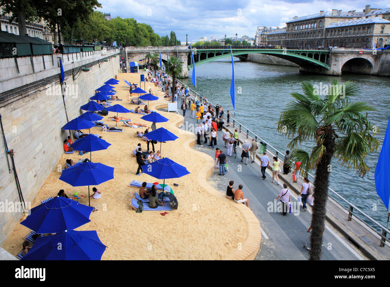 Paris beaches along the Seine side, France - Stock Image