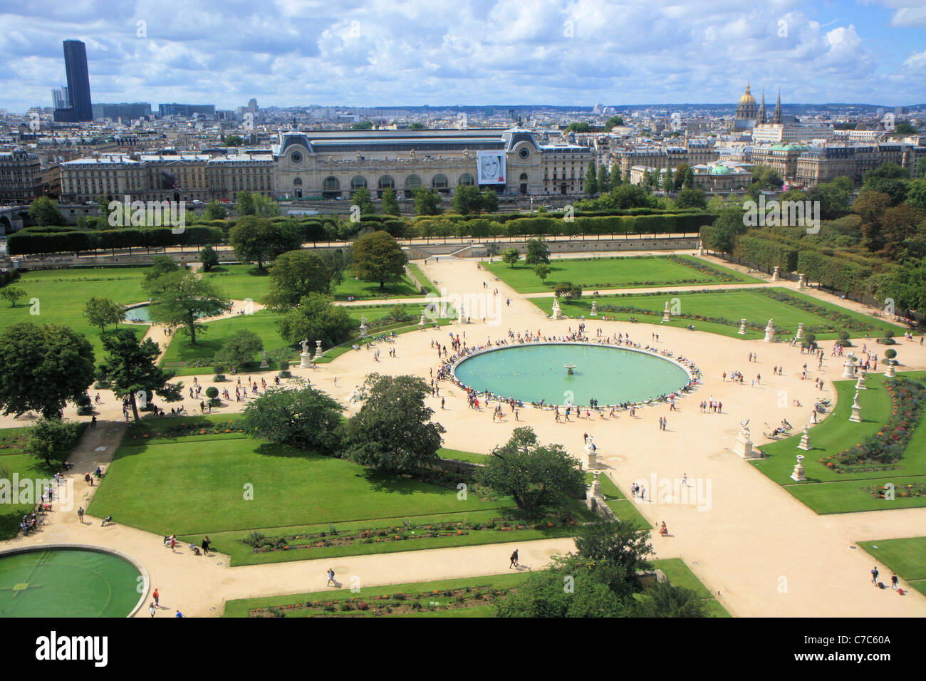 aerial view of jardin des tuileries from the great wheel paris france stock - Jardins Des Tuileries