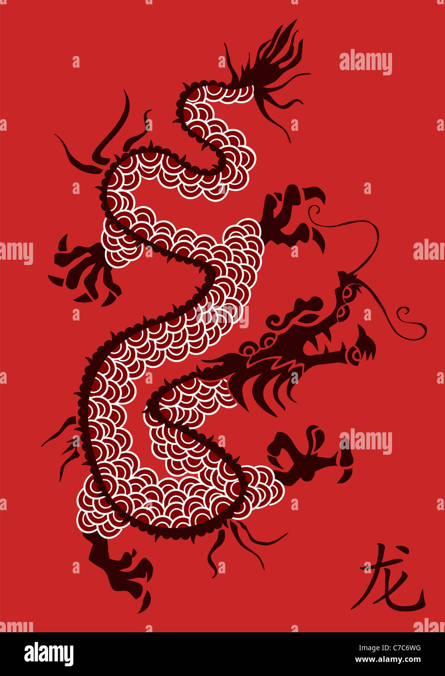 Illustration Of Ancient Chinese Dragon Silhouette On Red Background