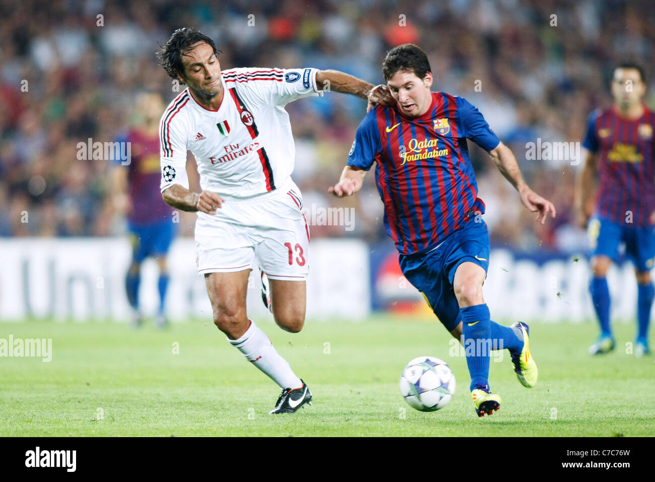 Alessandro Nesta (Milan) and Lionel Messi play for the UEFA Champions  League Group H