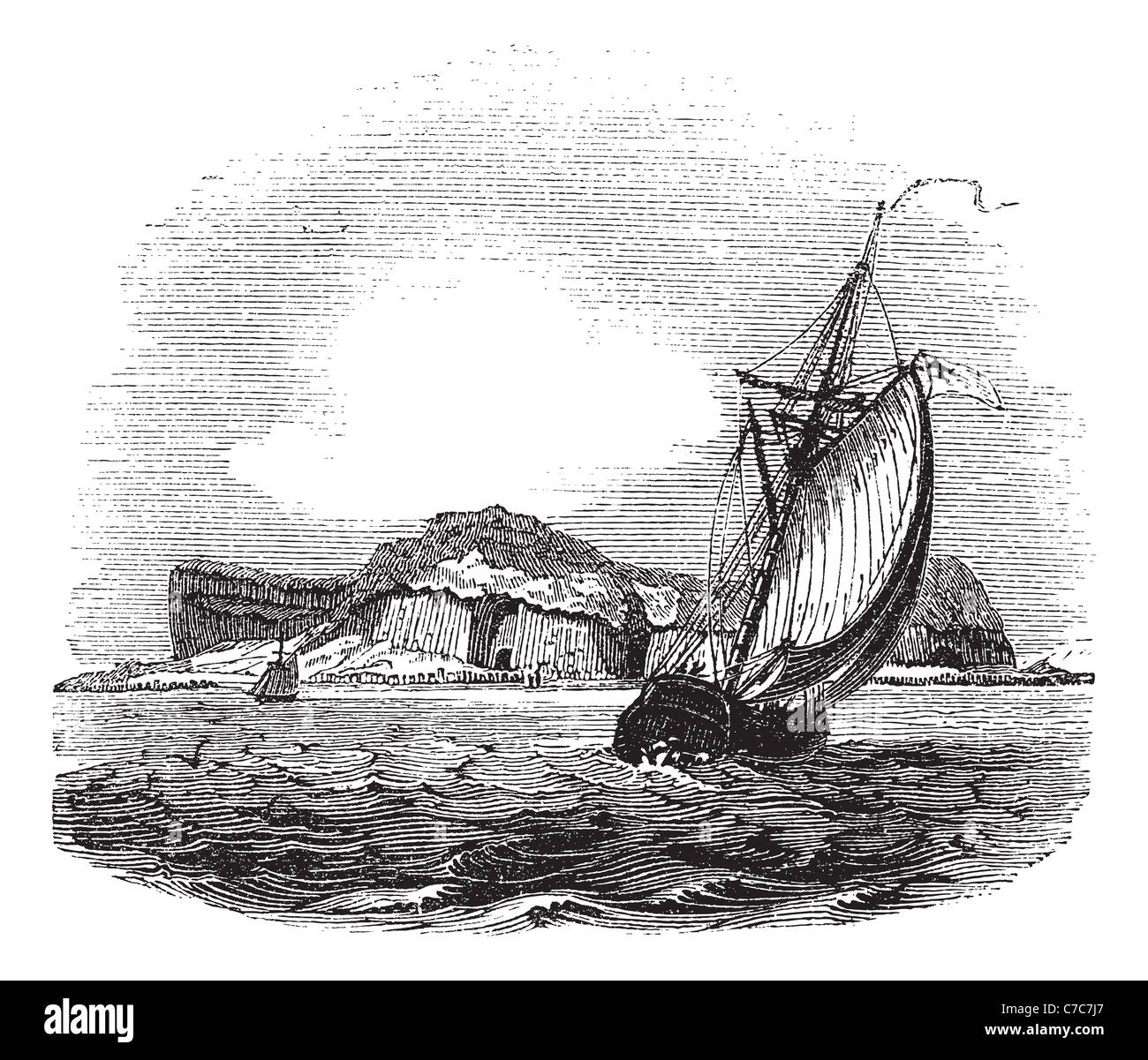 Staffa in Argyll and Bute, Scotland, during the 1890s, vintage engraving. Old engraved illustration of Staffa  with - Stock Image