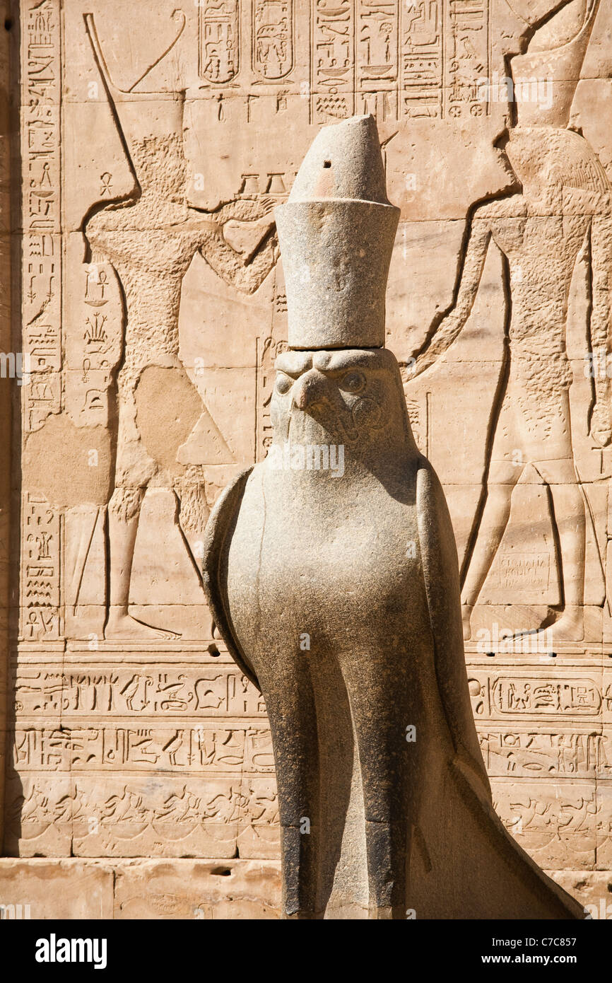 Statue of the falcon-headed god Horus in the Court of