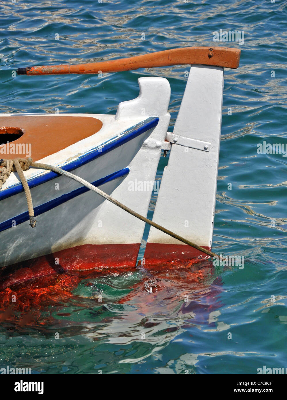 Rudder and tiller of small fishing boat Stock Photo: 38993377 - Alamy