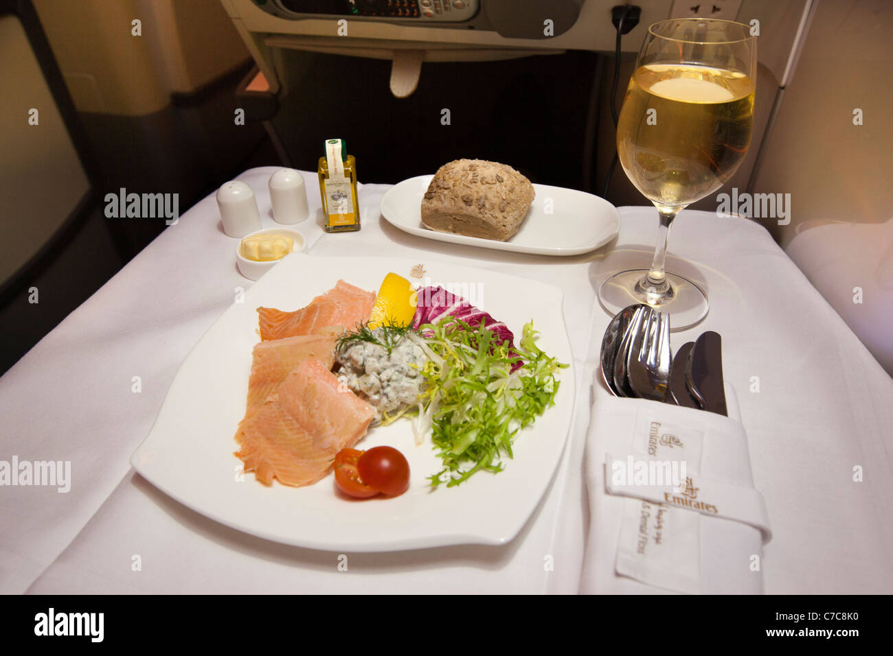 UK, Business Class Air Travel, smoked salmon starter served on Emirates Airlines A380 aircraft - Stock Image